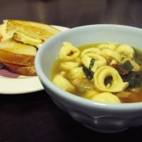 White Bean and Tortellini Soup with Grilled Brie and Apple Sandwiches