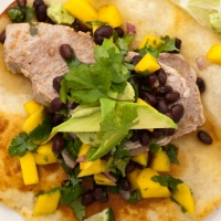 Southwestern Tuna Tostada With Black Bean-Mango Salsa